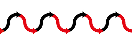 In the red - in the black - up and down arrow wave - business symbol for making profit or having positive income in the black, and having losses or being in debt in the red - illustration seamless extensible in both directions.