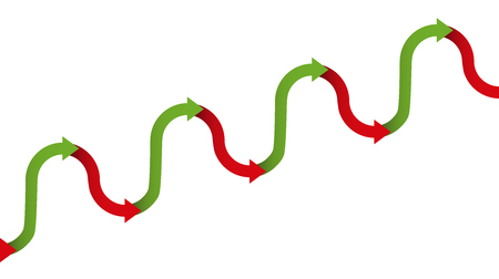 oscillation: Upward trend graph - gradual increase figure for growth with temporary descending or declining phases of a development, depicted with a rhythmically ascending green and descending red arrows.