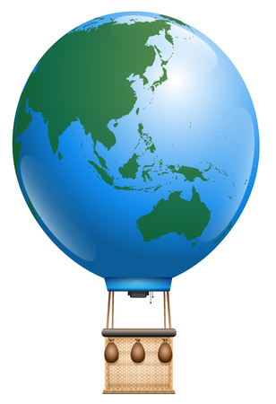 fly around: Hot air balloon - planet earth, asia and australia and pacific ocean - symbol for round the world cruise or other global flying tourism issues - isolated vector illustration on white background. Illustration