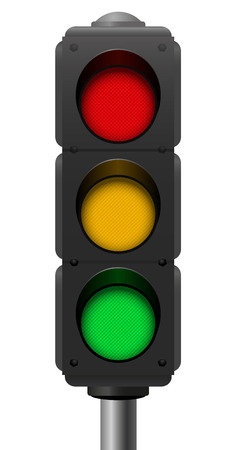 Traffic lights with three lights on - red, orange, green - ribbed surface - realistic three-dimensional isolated vector illustration on white background. Illustration