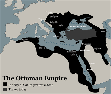 Turkey today and the Ottoman Empire at its greatest extent in 1683 - history map of its territory expansion and military acquisition in Europe, Asia and Africa - vector illustration. Reklamní fotografie - 76390511