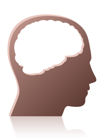Brainless, mindless, unintelligent, foolish, silly, stupid person, symbolized by a head with a big brain shaped empty hole - isolated vector illustration on white background. Illustration