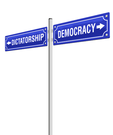 dictator: DICTATORSHIP and DEMOCRACY, written on two signposts in opposite directions. Isolated vector illustration on white background. Illustration