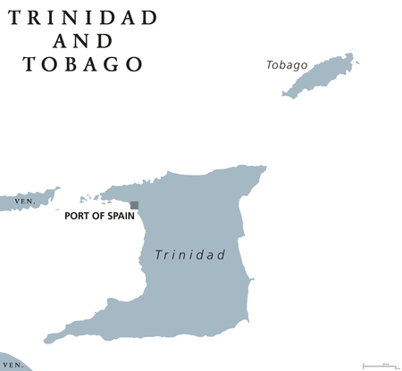 76275096 trinidad and tobago political map with capital port of spain republic and caribbean twin island country in the north of venezuela