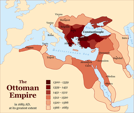 Turkish history - The Ottoman Empire at its greatest extent in 1683 - overview map of its territory expansion and military acquisition in Europe, Asia and Africa - vector illustration. Stock Illustratie