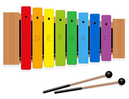 Glockenspiel or metallophone in c major with eight labeled bars, one octave, in different colors and two percussion mallets - top view - isolated vector illustration on white background. Illustration