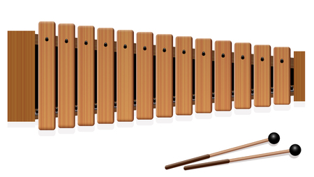 Xylophone - musical instrument with thirteen wooden bars and two percussion mallets - top view - isolated vector illustration on white background.