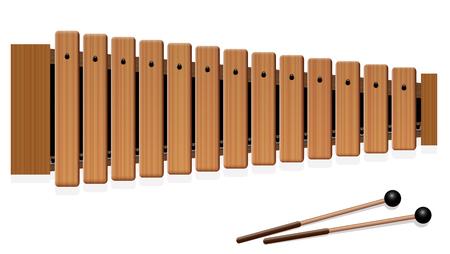 Xilofono - strumento musicale con tredici barre di legno e due mazze di percussione - vista superiore - illustrazione di vettore isolata su fondo bianco.