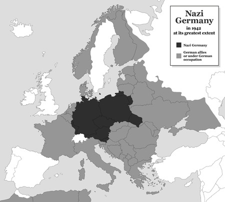 extent: Nazi Germany at its greatest extent during WWII in 1942 - with German allies and states under German occupation. Historical black and white map of Europe.