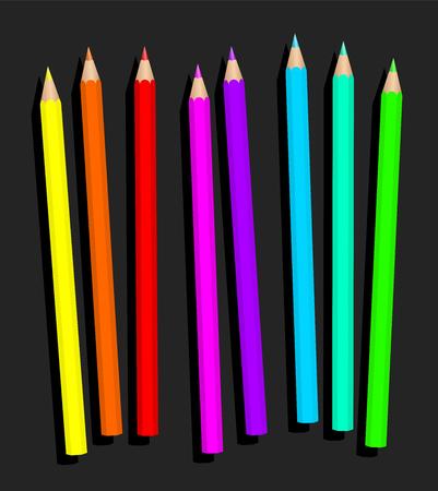 Neon potlood set, losjes geregeld - fluorescerende kleurpotloden voor dynamische en glary gekleurde tekeningen - geïsoleerde vector illustratie op grijze achtergrond.