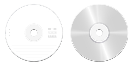 CD or DVD standard model - front and back view - realistic illustrated blank compact disc or digital versatile disc - isolated vector illustration on white background. Ilustração