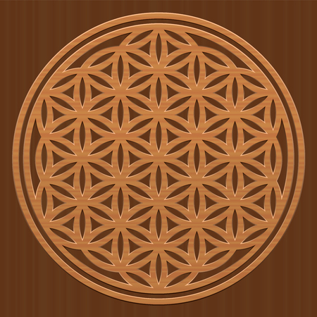 vida natural: Wooden Flower of Life - as a symbol for peaceful and healing nature or natural spirituality - vector illustration on wood textured background.
