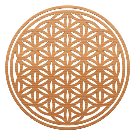 vida natural: Flower of Life - wooden style, as a symbol for natural spirituality and healing nature - vector illustration on white background.