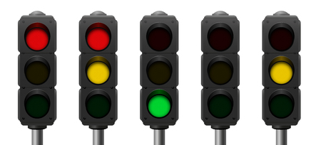 sequences: Traffic lights with overview of the common signal sequences - realistic three-dimensional isolated vector illustration on white background.
