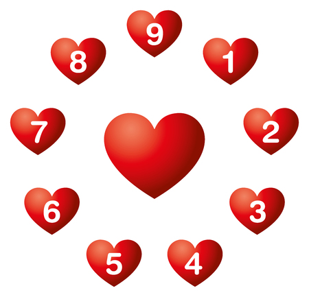 Heart numbers in a circle. Numerology. Nine soul urge numbers in red hearts around a heart symbol.