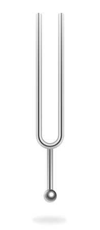 Tuning fork, musical equipment - acoustic resonator for producing a fixed tone - isolated three-dimensional realistic vector illustration on white background.