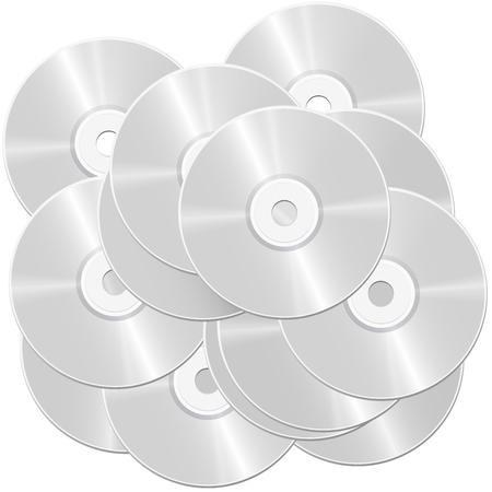 Pila de CD - montón de discos compactos o discos versátiles digitales - simbólico para el bulto grande y la masa de datos e información - ilustración aislada del vector en el fondo blanco.