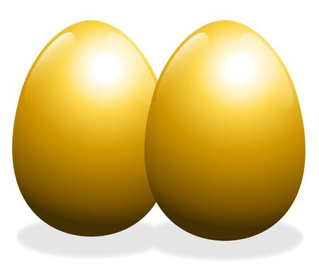 Two golden eggs - isolated vector illustration on white background.