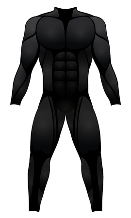 virile: Muscle suit - black sport dress, wetsuit, hero costume or fetish rubber latex garment - isolated vector illustration on white background. Illustration