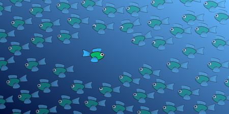 Swimming against the tide - one brave, daring fish swims in the opposite direction to the school of fish - symbol for courage, individuality, diversity or being an outsider. Isolated vector comic illustration on white background.