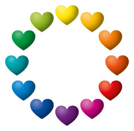 Twelve Rainbow Color Hearts Arranged In A Circle Heart Symbols
