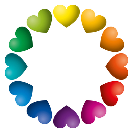 Rainbow color hearts arranged in a circle. Twelve heart symbols in unique color hues. Isolated illustration on white background. Vector. Illustration