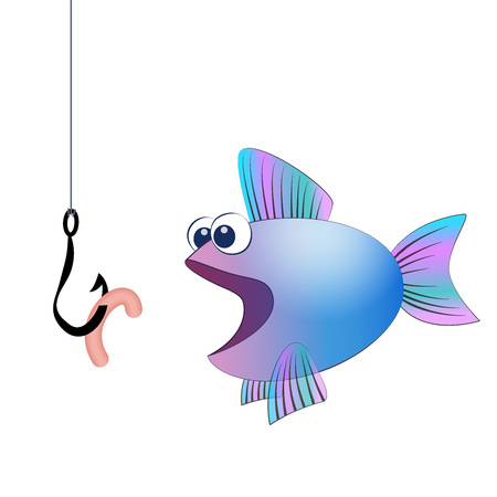 Fish hook with angling worm and a hungry fish - isolated vector comic illustration on white background. Illustration