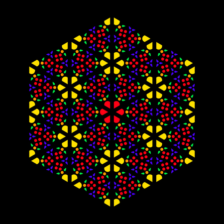 Rose window leadlight impression, generated by patterns in the colors yellow, orange, red, green and purple. Rosette window, also Catherine or wheel window. Illustration on black background. Vector.