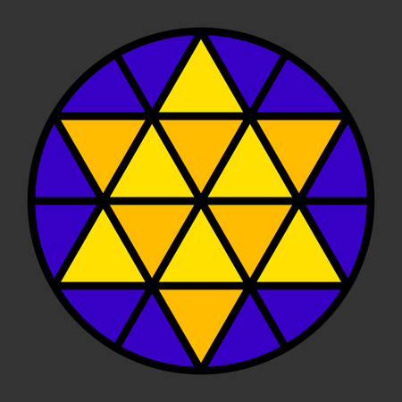 Hexagram leadlight impression, generated by a black triangle pattern in a circle with yellow and blue color.