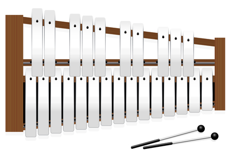 octaves: Metallophone with metal bars - top view - three octaves in c major with fifteen whole tones and ten halftones - plus two percussion mallets - illustrated vector illustration on white background.