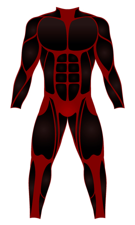Divers suit, muscle optics - red black wetsuit for water sports - or to be worn as a hero costume - isolated vector illustration on white background. Illustration