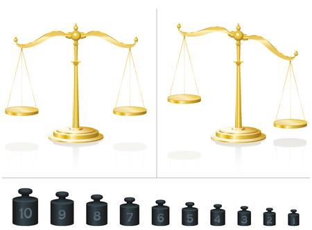 even: Scale for maths and physics - calculate with ten different weights and learn counting and addition - place them on the balanced or unbalanced pans - isolated vector illustration on white background. Illustration