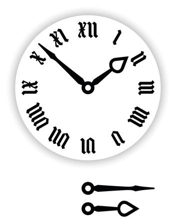 Fraktur Roman numerals clock face. Part of analog clock with black pointers. Dial with blackletter numerals, so Gothic minuscule or Textura. Black and white illustration on white background. Vector.