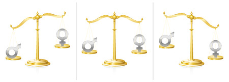 injustice: Scale with male and female symbol- balanced and unbalanced - symbol for equality or injustice, unfairness and discrepancy in gender questions - in judicial system, work life or private sphere.