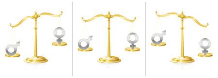 Schaal met mannelijk en vrouwelijk symbool - evenwichtig en onevenwichtig - symbool voor gelijkheid of onrechtvaardigheid, oneerlijkheid en discrepantie in geslachtsvragen - in gerechtelijk systeem, werkend leven of privé-gebied. Stock Illustratie