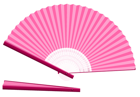 girlish: Pink hand fan for cooling when overheated for whatever reason - open and closed - three-dimensional - realistic. Isolated vector illustration on white background.