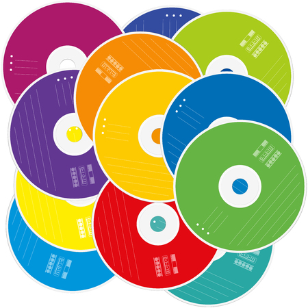 Heap of CDs or DVDs - CD pile with colored labels as a symbol for mass of data and information - isolated vector illustration on white background.