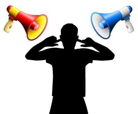 Geluidsstoornis door twee luide megafoons die schreeuwen tegen een geërgerde persoon die de oren bedekt, om gehoorschade, oorsuizen, gehoorstoornissen, hyperacusis of soortgelijke lichamelijke letsels of mentale stress te voorkomen. Stock Illustratie