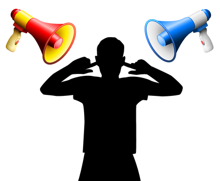 Noise disturbance by two loud megaphones yelling at an annoyed person who covers the ears, to avoid hearing damage, tinnitus, hearing disorder, hyperacusis or similar physical injury or mental stress.