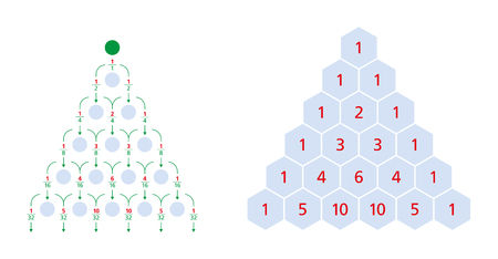 Galton board normal distribution and Pascals triangle, a triangular array of the binomial coefficients. Each number is the sum of the two directly above. Bean machine, Galton box, quincunx. Vector. Illustration