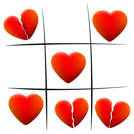 broken love: Heartbreak tic tac toe - love hearts and broken hearts - isolated vector illustration on white background.