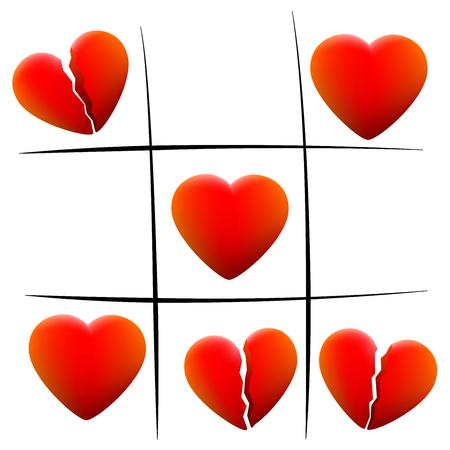 Heartbreakticac-teen - houd harten en gebroken harten - geïsoleerde vectorillustratie op witte achtergrond.