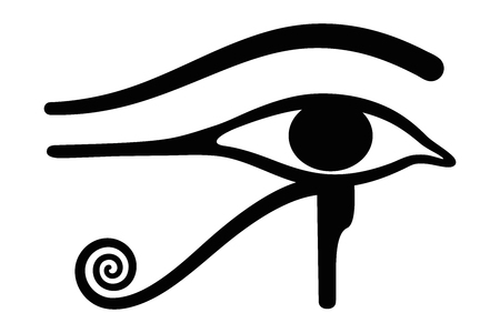 Wedjat, later called Eye of Horus. Ancient Egyptian symbol of protection, royal power and good health, personified in goddess Wadjet. Similar to Eye of Ra, belonging to god Ra. Illustration. Vector. Illustration