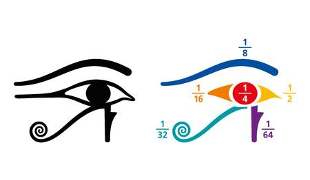 Ojo de Horus fracciones valores aritméticos. En el egipcio antiguo, las fracciones se escribieron como la suma de las fracciones unitarias, representadas por diferentes partes del símbolo del Ojo de Horus. Ilustración de color. Vector. Ilustración de vector