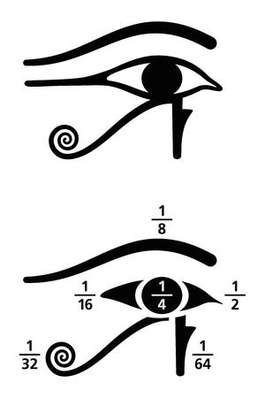 Ojo de Horus valores de fracciones. En el egipcio antiguo, las fracciones se escribieron como la suma de las fracciones unitarias, representadas por diferentes partes del símbolo del Ojo de Horus. Ilustración en blanco y negro. Vector.