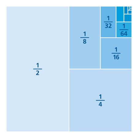 Unidad fracciones dibujadas como porciones de un cuadrado. Uno dividido por los primeros seis poderes de dos. Primeros seis summands de serie infinita 1/2, 1/3, 1/4, 1/8, 1/16, 1/64, ... Azul sobre blanco ilustración. Vector Ilustración de vector