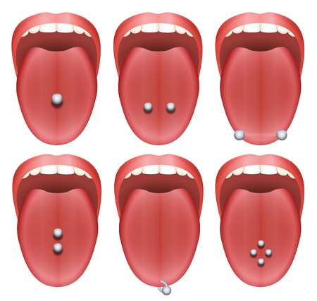 Tongue piercing examples - nine different illustrations on white background.