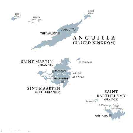 americas: Anguilla, Saint-Martin, Sint Maarten and Saint Barthelemy political map. Islands in the Caribbean, part of Leeward Islands and Lesser Antilles. Gray illustration over white. English labeling. Vector.