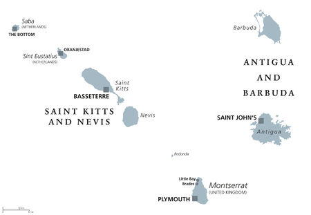 Saint Kitts And Nevis, Antigua And Barbuda, Montserrat, Saba and Sint Eustatius political map.Caribbean islands and parts of the Lesser Antilles. Gray illustration over white. English labeling. Vector Illustration