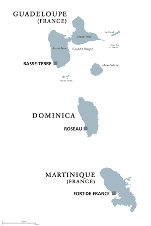 windward: Guadeloupe, Dominica, Martinique political map with capitals Basse-Terre, Roseau and Fort-de-France. Caribbean islands, parts of Lesser Antilles. Gray illustration over white. English labeling. Vector Illustration